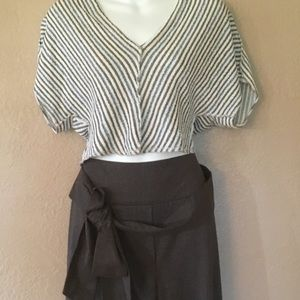 ANTHROPOLOGIE ELEVENSES WIDE LEG TROUSERS  10 NWOT